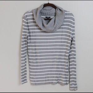 Apt 9 Cowl Neck Knit Gray Stripe Sweater